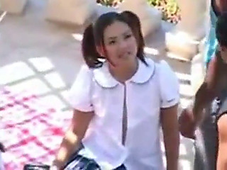 two oriental schoolgirls