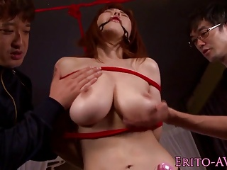 Bigtitted oriental fastened and screwed in advance of cum