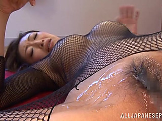 Pretty Oriental Playgirl Reiko Is Acting Smutty In Her Fishnet Costume
