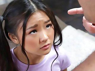 Tiny asian schoolgirl gets caught messing around