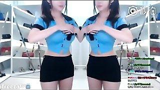 korean girl dancing on webcam