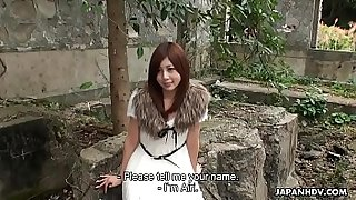 Classy Asian teen is kidnapped and creampied in the open