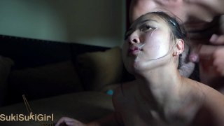 pussy eating orgasm and FACIAL cumshot @sukisukigirlreal