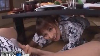 Japanese Milf got fucked hard during dinner